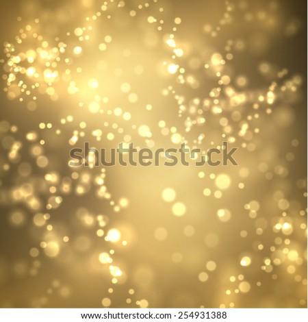 Golden bokeh vector background. Vector eps10. - stock vector