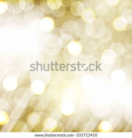 Golden Bokeh With Blurred Background, Vector Illustration - stock vector