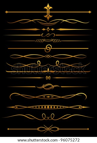 Golden borders and dividers for ornate and decorations. Jpeg version also available in gallery. - stock vector