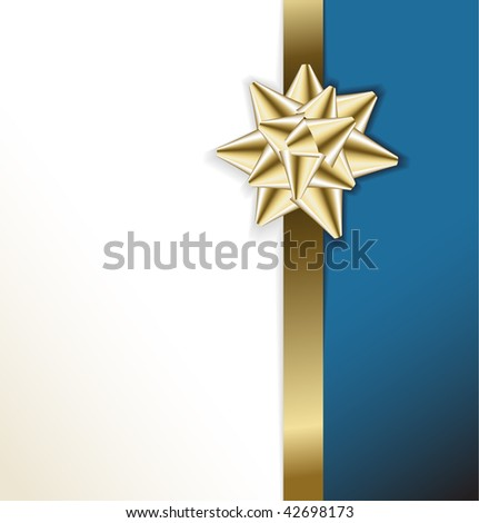 golden bow on a ribbon with white and blue  background - vector Christmas card - stock vector