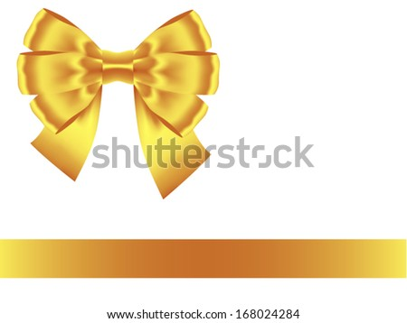 golden bow with ribbon isolated on white. Vector illustration