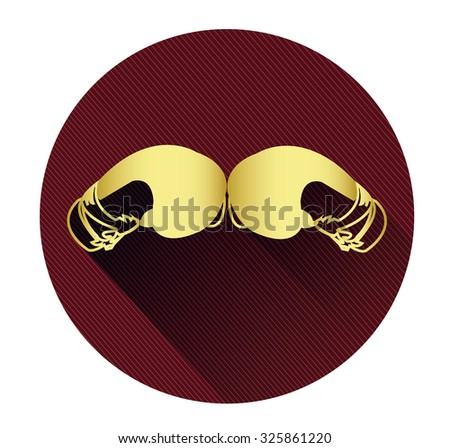 Golden boxing gloves icon with long shadow effect - stock vector