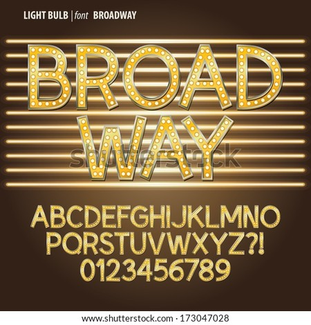 Golden Broadway Light Bulb Alphabet and Digit Vector - stock vector