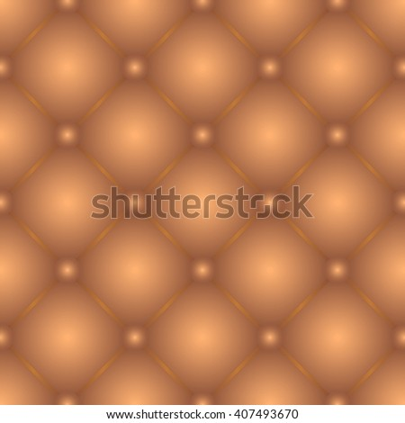 Golden brown tufted leather seamless texture pattern - stock vector