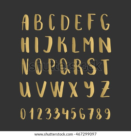 Golden brush font with numbers. Vector alphabet. Hand drawn calligraphy.