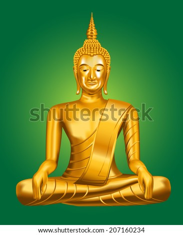 Golden Buddha statue on a green background. Vector illustration. - stock vector