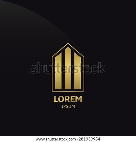 Golden Building Company Logo on the black background. Vector illustration. - stock vector