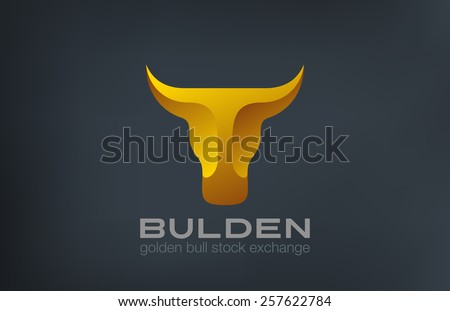 Golden Bull Head Logo design vector template. Stock Exchange strategy 3d logotype concept icon. Symbol of Power, Strength. - stock vector