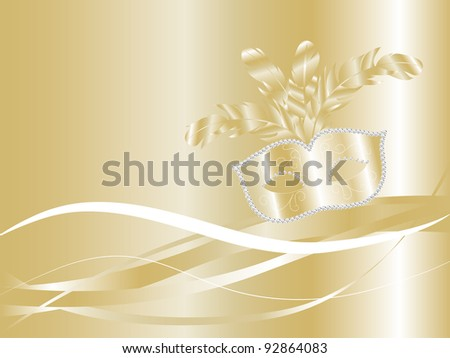 Golden carnival background with luxury face mask