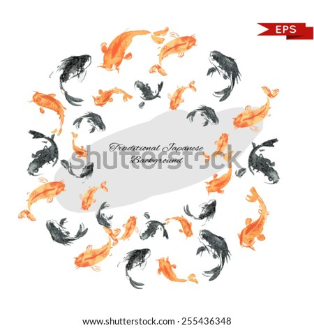 Golden carp ink background. Isolated illustration. Vector image. - stock vector