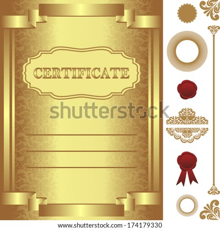 Golden Certificate Template with additional elements.  - stock vector