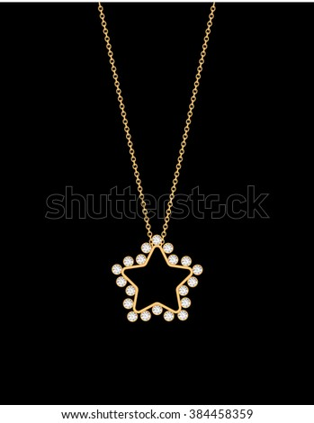 Golden chain jewelry necklace star diamond stock vector 384458359 golden chain jewelry necklace with star diamond pendant aloadofball Image collections