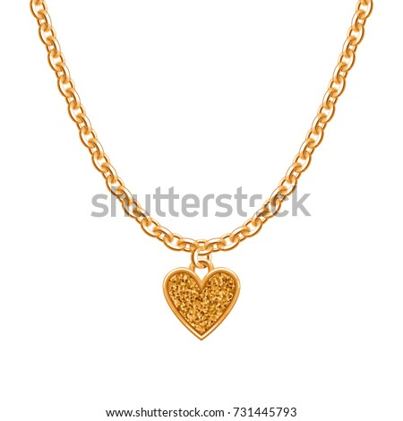Golden Chain Necklace Heart Pendant Jewelry Stock Vector ...