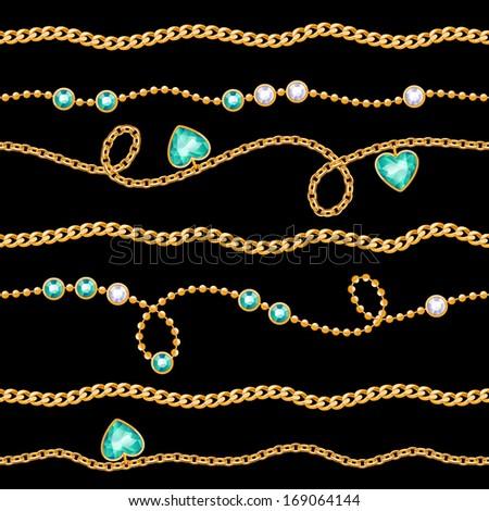 Golden chains & gemstones seamless pattern on black. - stock vector