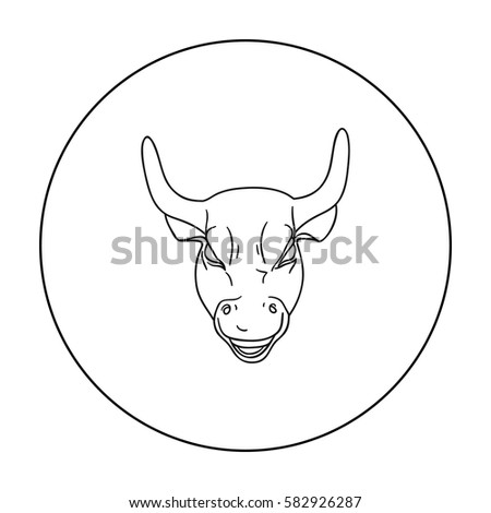 Golden Charging Bull icon in outline style isolated on white background. Money and finance symbol stock vector illustration.