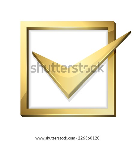 Golden check mark in box isolated on white background, illustration. - stock vector