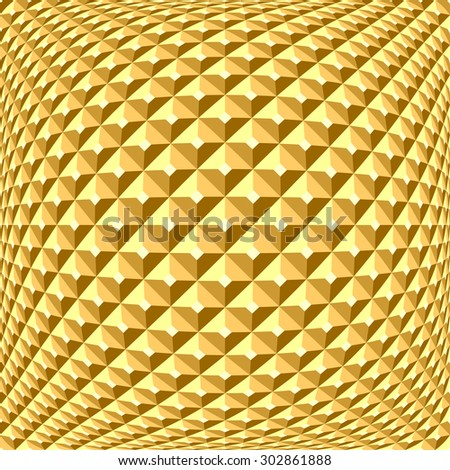 Golden checked relief pattern. Abstract textured background. 3D optical illusion. Vector art. - stock vector