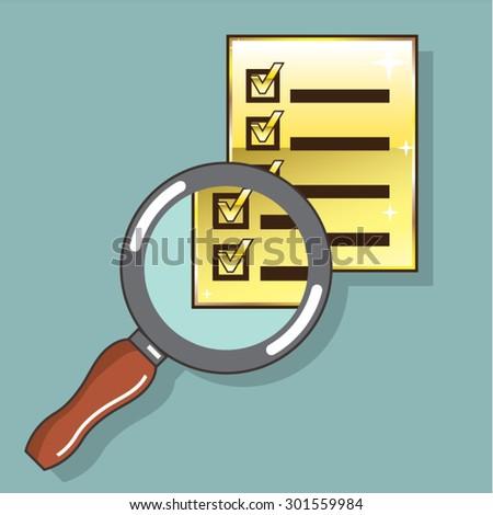 Golden Checklist Magnifying glass zoom Vector - stock vector