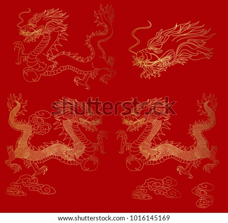 Golden Chinese Dragon Texture For Wallpaper Paper Cut The With Peach And Peony