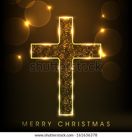 Golden Christian Cross on shiny brown background, Merry Christmas concept. - stock vector
