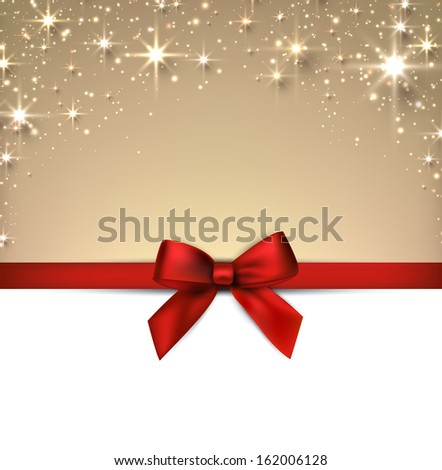 Golden christmas abstract background with red gift bow. Holiday illustration with stars and sparkles. Vector.  - stock vector