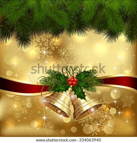 Golden Christmas background with bells and fir tree branches, illustration. - stock vector