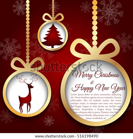 Golden christmas ball cut from paper on red background. Vector eps10 illustration for your design.