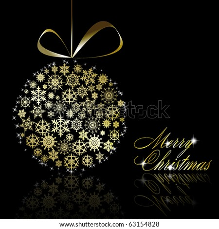 Golden Christmas  ball made of gold snowflakes with stars on black background. Vector eps10 illustration - stock vector