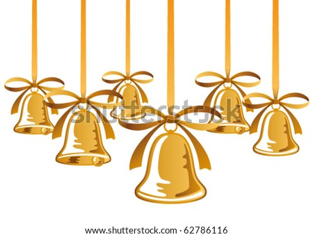 golden christmas bells with red bow - stock vector