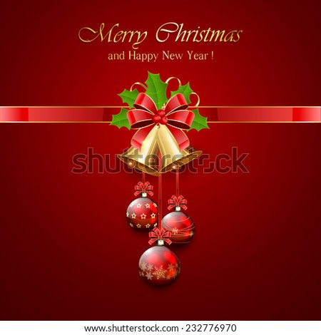 Golden Christmas bells with red bow, tinsel and Holly berries on red background, illustration. - stock vector