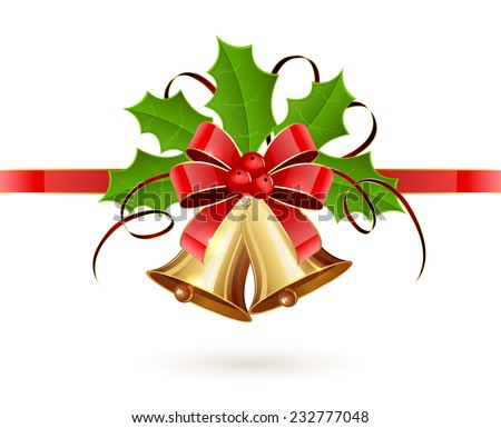 Golden Christmas bells with red bow, tinsel and Holly berries on white background, illustration. - stock vector
