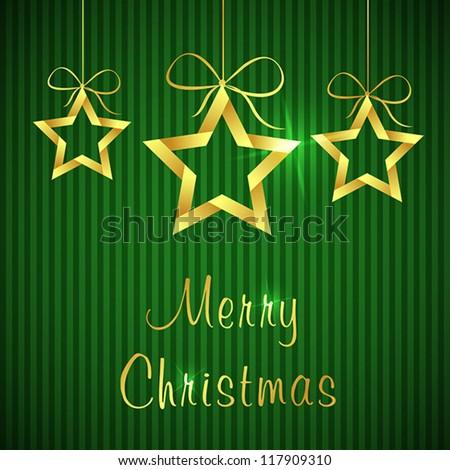 golden christmas card 2. christmas card concept - stock vector