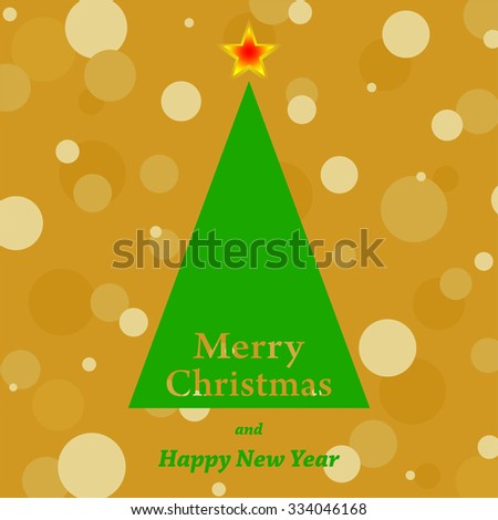 Golden Christmas card with a green Christmas tree with the words Merry Christmas with red and yellow star with a gold background with bullets and the inscription a Happy New Year - stock vector