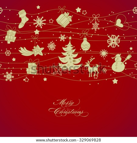 Golden Christmas decorations over red background, horizontal seamless pattern - stock vector