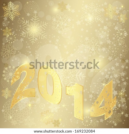 Golden Christmas frame with the inscription 2014 (vector eps 10) - stock vector
