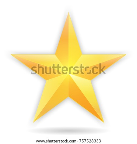 Golden christmas star icon isolated on white background. vector illustration