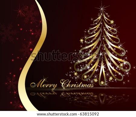 Golden Christmas tree - stock vector