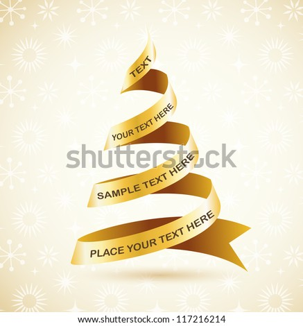 Golden Christmas tree and lights - vector background - stock vector