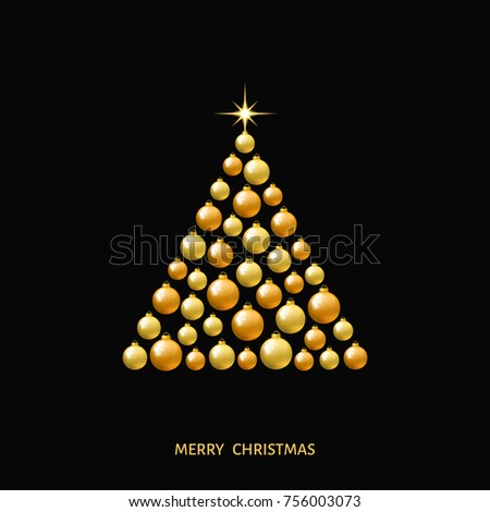 Golden Christmas Tree Made Of Xmas Balls And A Star On Black Background Gold Decoration
