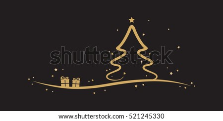 golden christmas tree stars present black background