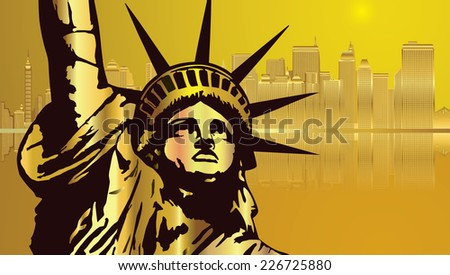Golden City New York and Golden  Statue of Liberty - stock vector