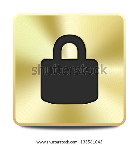 Golden close lock icon / button, graphic design element