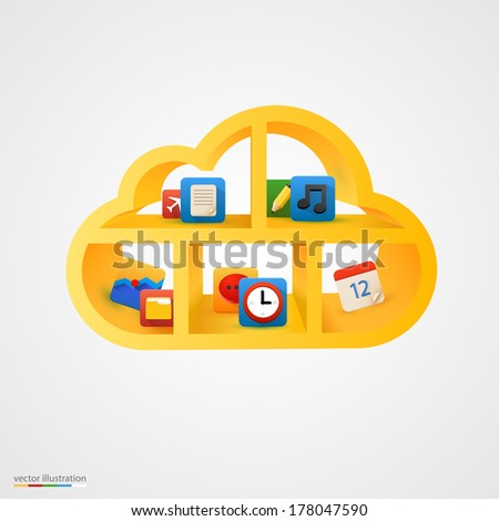 Golden cloud database shelf. Vector illustration - stock vector