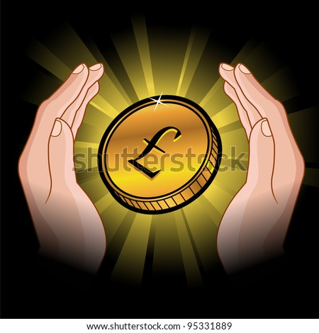 golden coin with pound symbol in hands