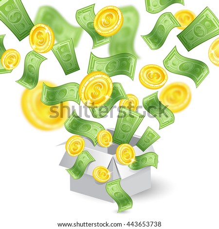Golden coins and banknotes with depth of field effect flying from open gift box - stock vector