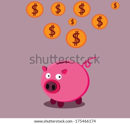Golden coins falling into a pink piggy bank, isolated on pink. US dollar coins.vector