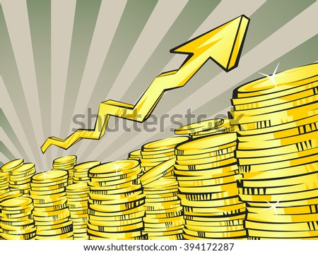 Golden coins stacks with arrow. Retro rays background. Income increasing concept. Vector illustration. Perspective view.
