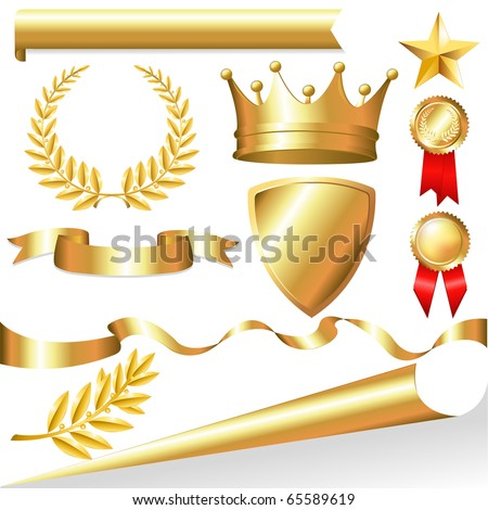 Golden Collection From Crowns, Medals, Board, Tapes, Laurel Branch And Wreath, Isolated On White Background, Vector Illustration - stock vector