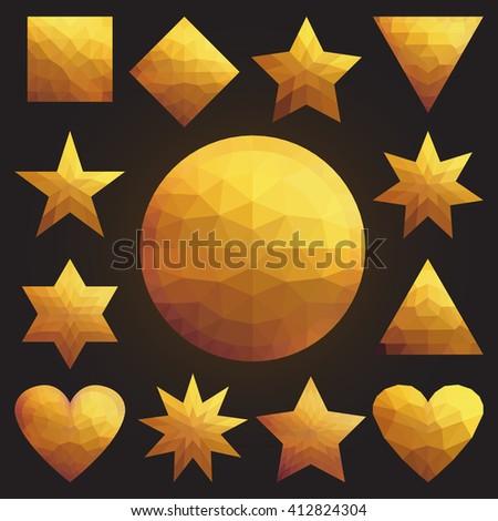 Golden collection set of soft mesh facet crystal gem logo designs or web elements. Pentagonal, triangular, circle, star, heart, diamond, square, hexagonal gold luxury polygon shapes - stock vector