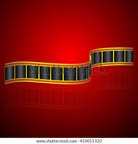 Golden colored film strip on red background - stock vector